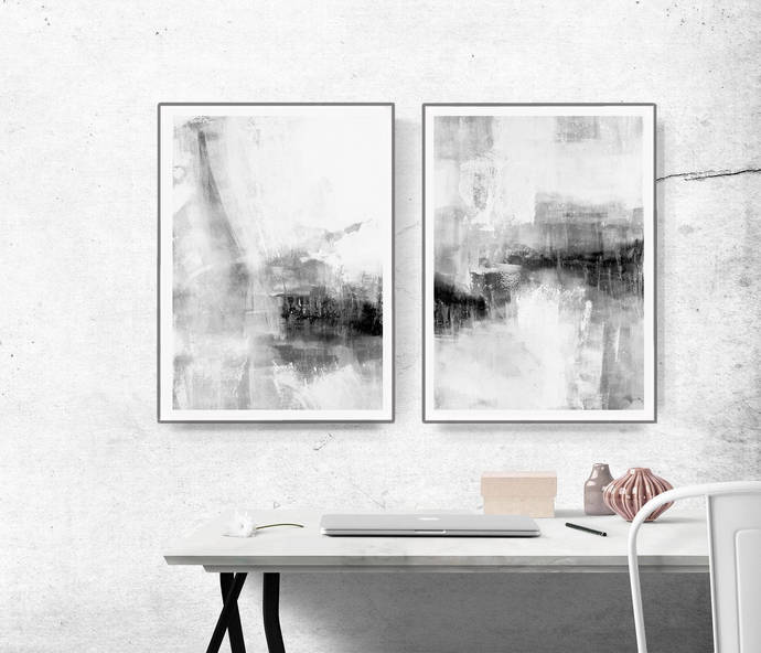Set of 2 Prints, Abstract Art, Printable Print Set, Two Prints, Grey Wall Art,