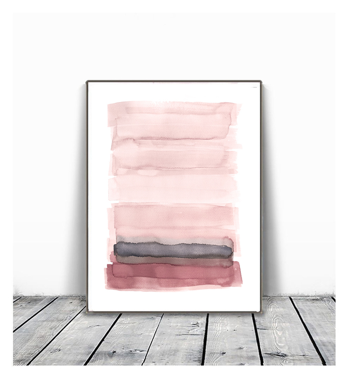 Pink Abstract Print Set of 2, Abstract Art, Printable Art, Abstract Painting,