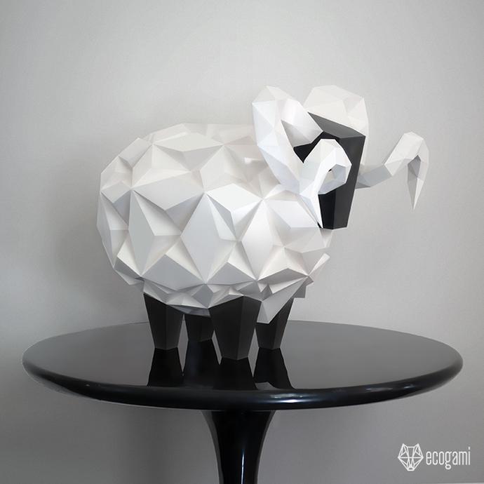 Make your own papercraft sheep sculpture | DIY décor | 3D paper sculpture |