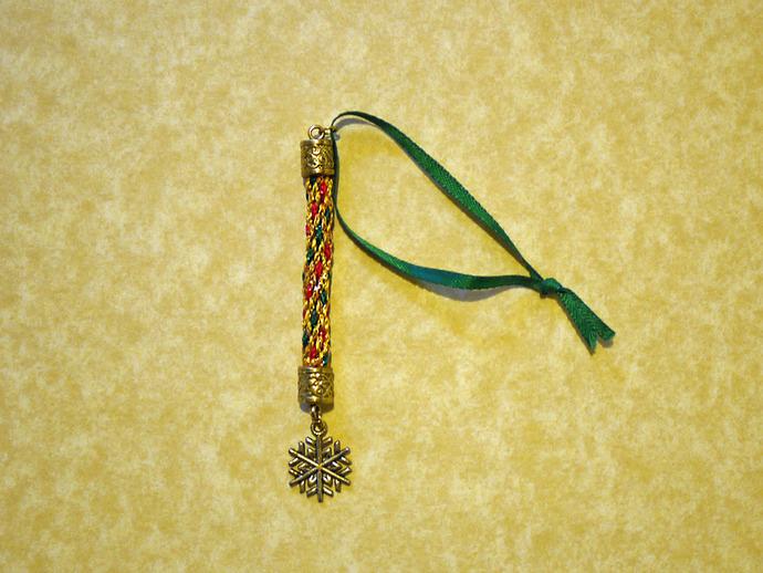 Christmas Charm-Drop Gold Red Green Ornaments - Kumihimo