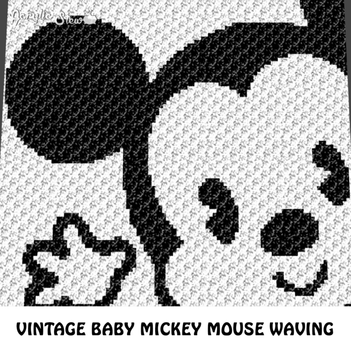 Vintage Baby Mickey Mouse Waving Disney Cartoon Character crochet graphgan