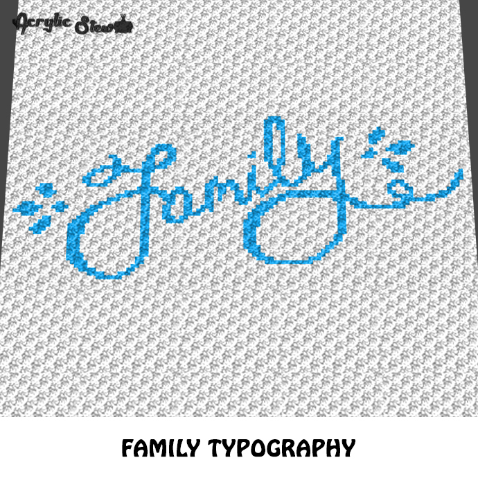Family Typography Quote Design crochet graphgan blanket pattern; c2c, knitting,