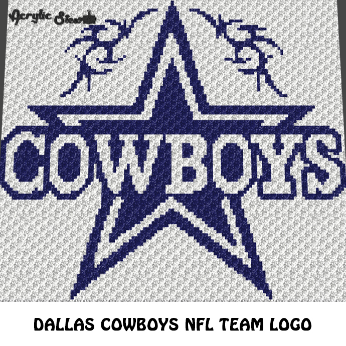 Dallas Cowboys NFL Football Team Logo crochet graphgan blanket pattern; c2c,