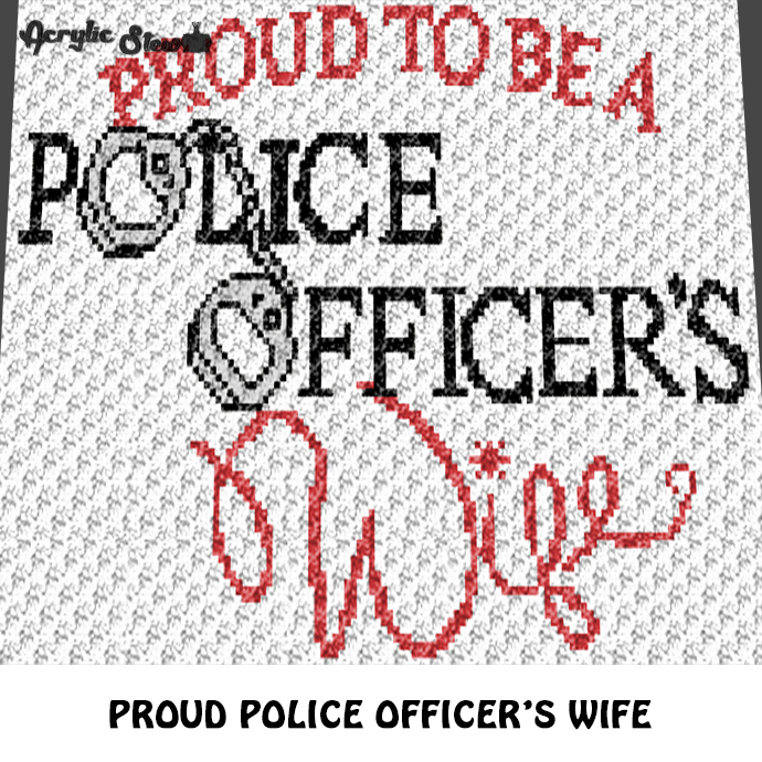 Proud To Be A Police Officer's Wife Quote Typography Handcuffs crochet graphgan