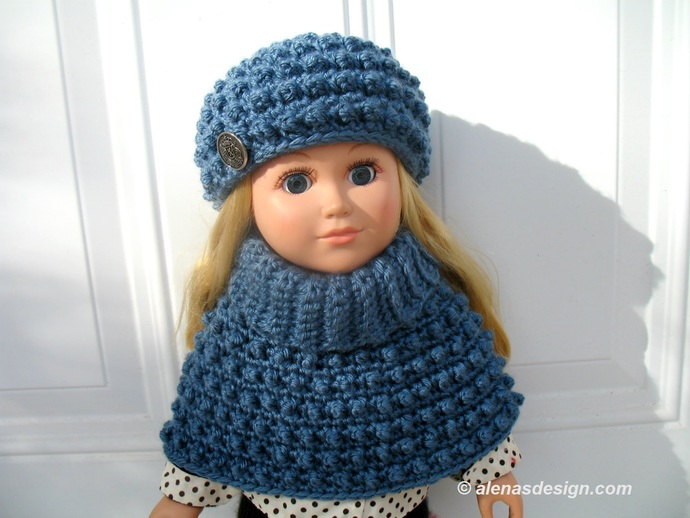 Crochet Pattern 2 PC Set for 18 inch Doll Cold Day Doll Outfit Crochet  Patterns Slouchy Hat Cowl Neck Poncho American Doll My Life As Girl