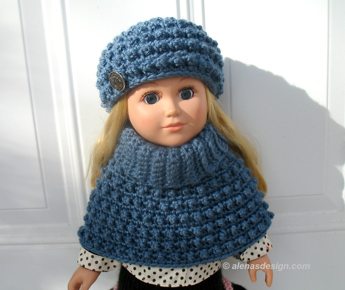 Crochet Pattern 2 PC Set  for 18 inch Doll Cold Day Doll Outfit Crochet Patterns