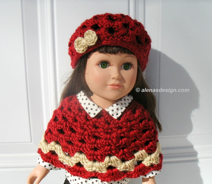 Crochet Patterns Lace Slouchy Hat and Poncho American Girl Doll Outfit Crochet