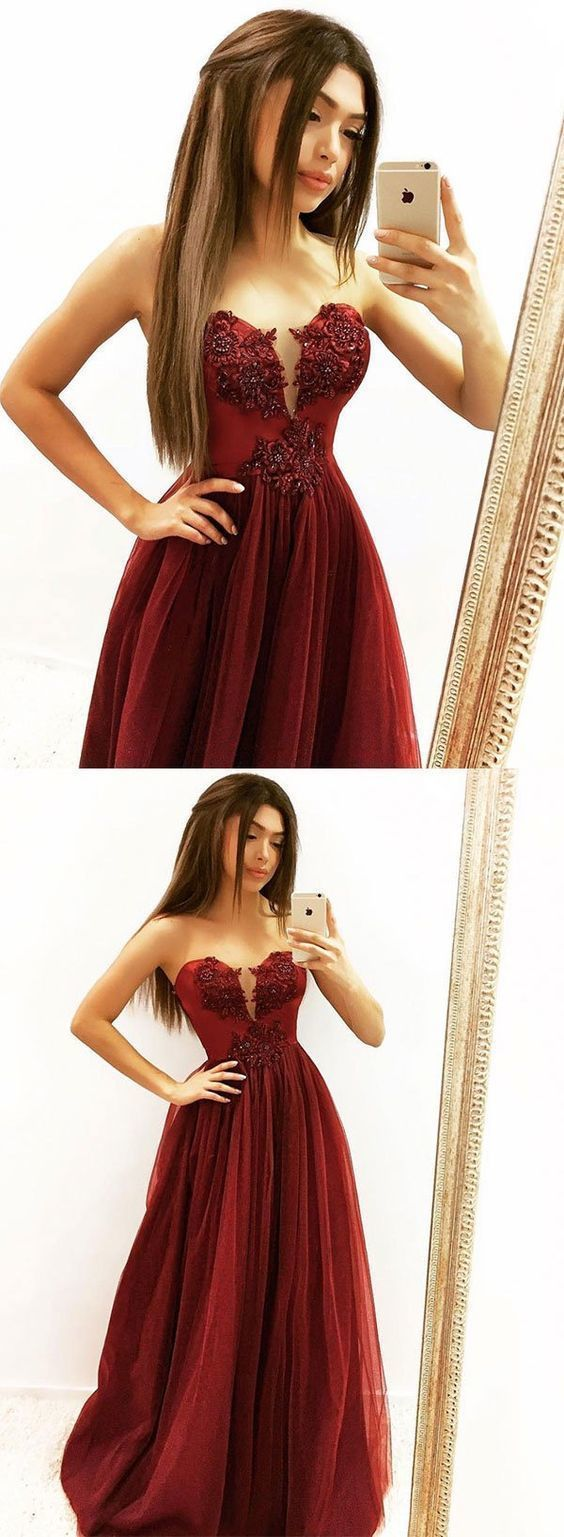 Burgundy Tulle Lace Llong Prom Dress Burgundy Evening DressFormal Gowns Cheap
