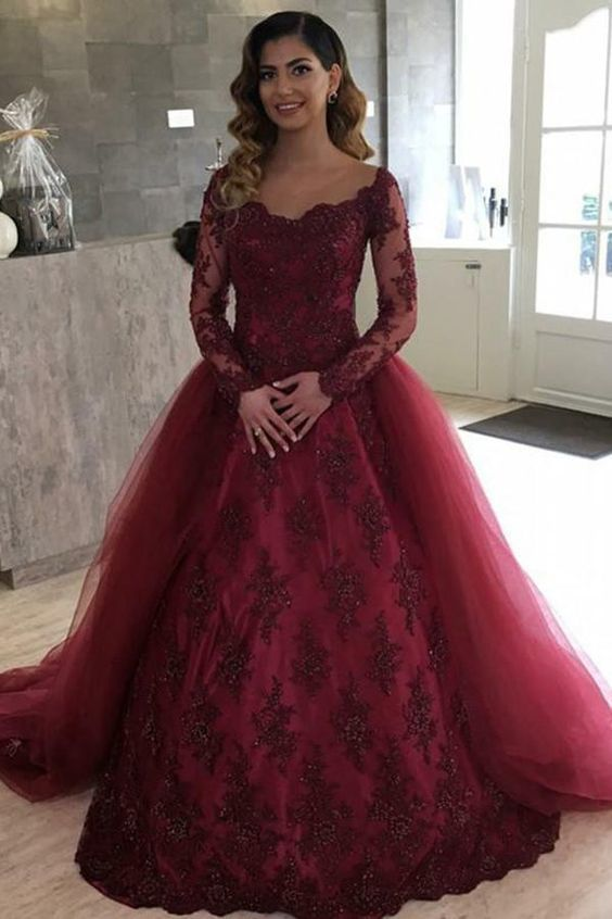 Burgundy Long Sleeve Ball Gown Illusion Bateau Quinceanera Dance Dress with
