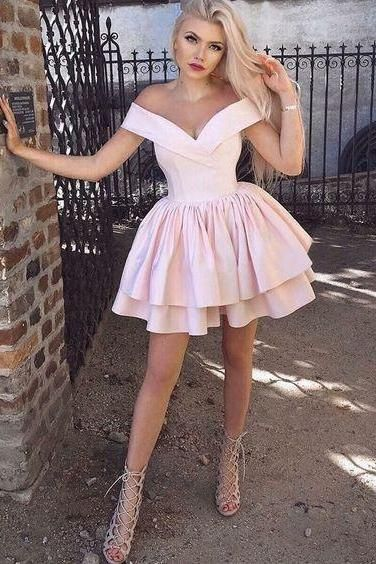 A-Line Off-the-Shoulder Short Pink Homecoming Dress ,Custom Made,Party