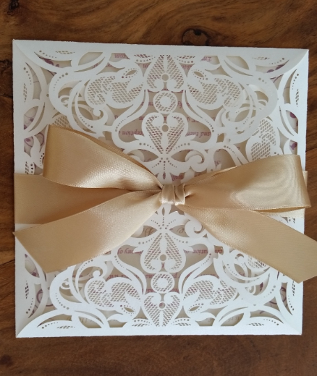 Champagne and Gold Lace Laser cut Invitation Card