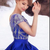 New Sparkle Cap Sleeves Royal Blue Prom Dresses Scoop Neck Crystal Beaded Satin