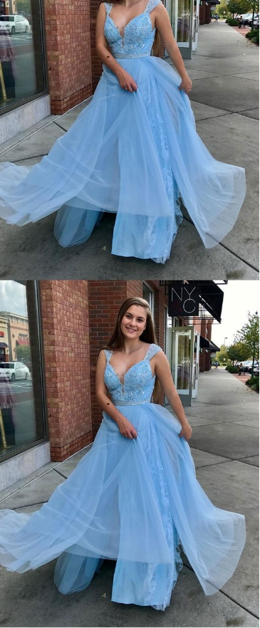 sky blue long plus size prom dresses,simple lace chiffon a line prom party gowns