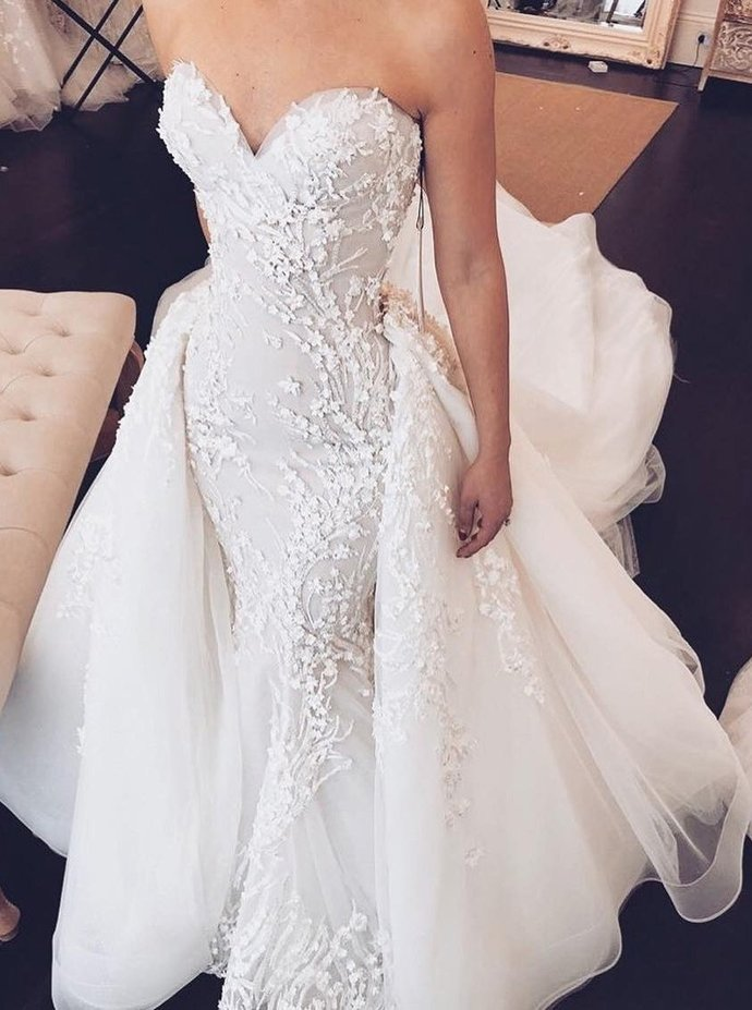 White Sweetheart neckline Tulle Mermaid Wedding Dress with Appliques, Sexy