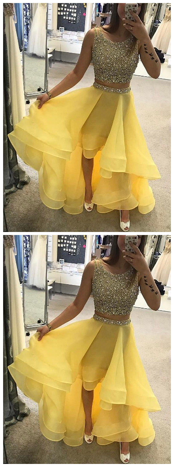 Two Pieces Prom Dress, Yellow Prom Dress, Beaded Prom Dress