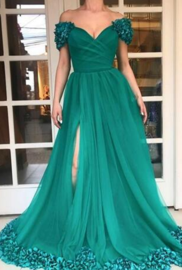 High Split Long Prom Dresses Custom Plus Size Hunter Green Tulle A Line Off  Shoulder 3D Flowers African 2019 Evening Gowns Cheap