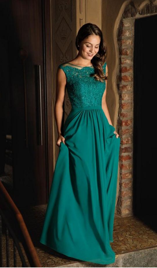 Cap Sleeves Teal Green Long Evening Dress Gown