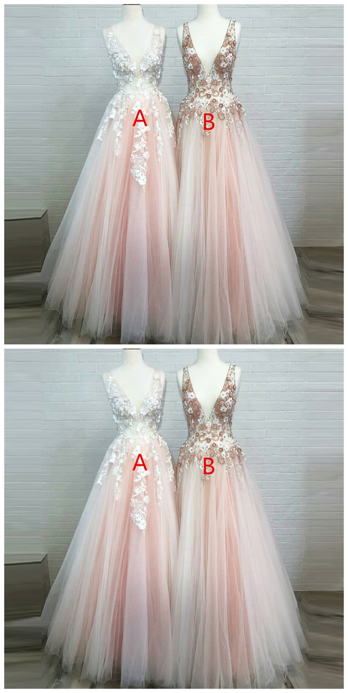 A-Line Deep V-Neck Tulle Beaded Pink Prom Dress with Appliques