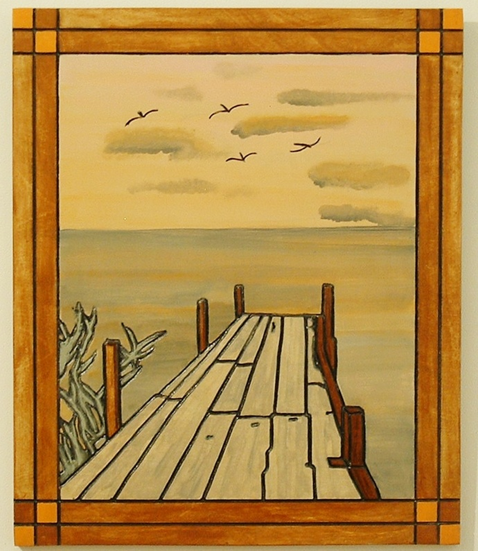 Landscape, Boat Dock on the Bay, Wood Wall Art, Pyrography, Home Decor