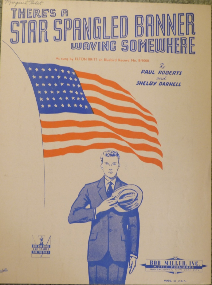 There's a Star Spangled Banner Waving Somewhere, Vintage sheet music,