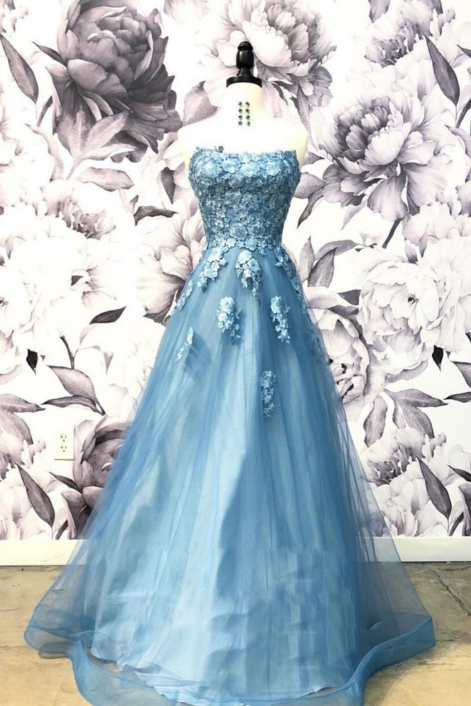 Elegant Strapless Long Prom Dress with Appliques, Formal Long Evening Dress,