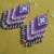 Native American Style Brick Stitched Cross Earrings in Purple