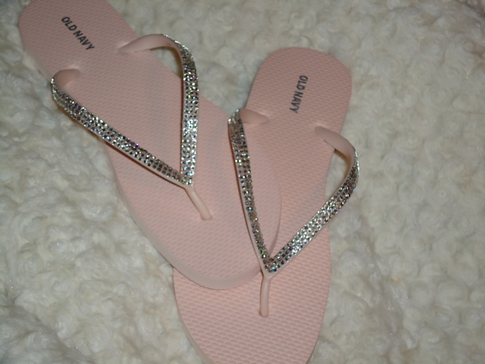 Light Pink Blush Flip Flops With Crystals-3 Rows Of Crystals