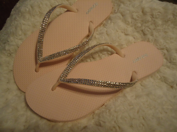 70cda7c5b178 ... Light Pink Blush Flip Flops With Crystals-3 Rows Of Crystals ...