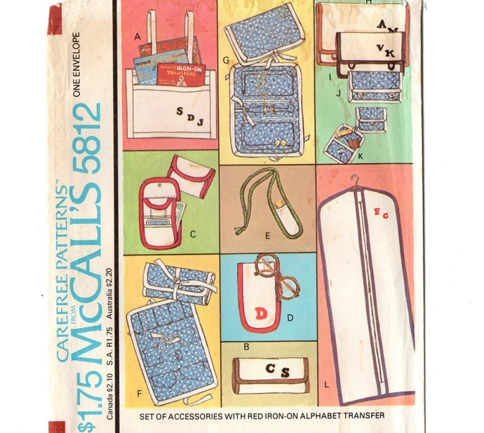 McCall's 5812 Accessories and Bags 70s Vintage Sewing Pattern UNCUT Tote Jewelry
