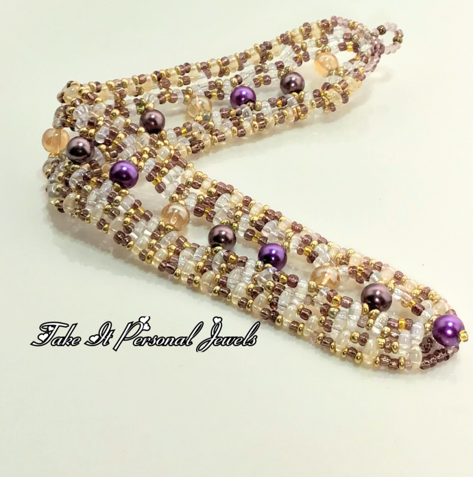 Pearl and Crystal Handmade Bracelet Purple