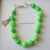 Lime Green Sterling Silver Bracelet with Cat Charm - Handmade. Neon Bracelet.