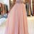 Pink Chiffon A-line Prom Dresses Long Backless Evening Dresses Formal Gowns