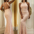 Sexy Open Back Prom Dress,Mermaid Open Back Evening Dress,Rose Pink Lace Formal