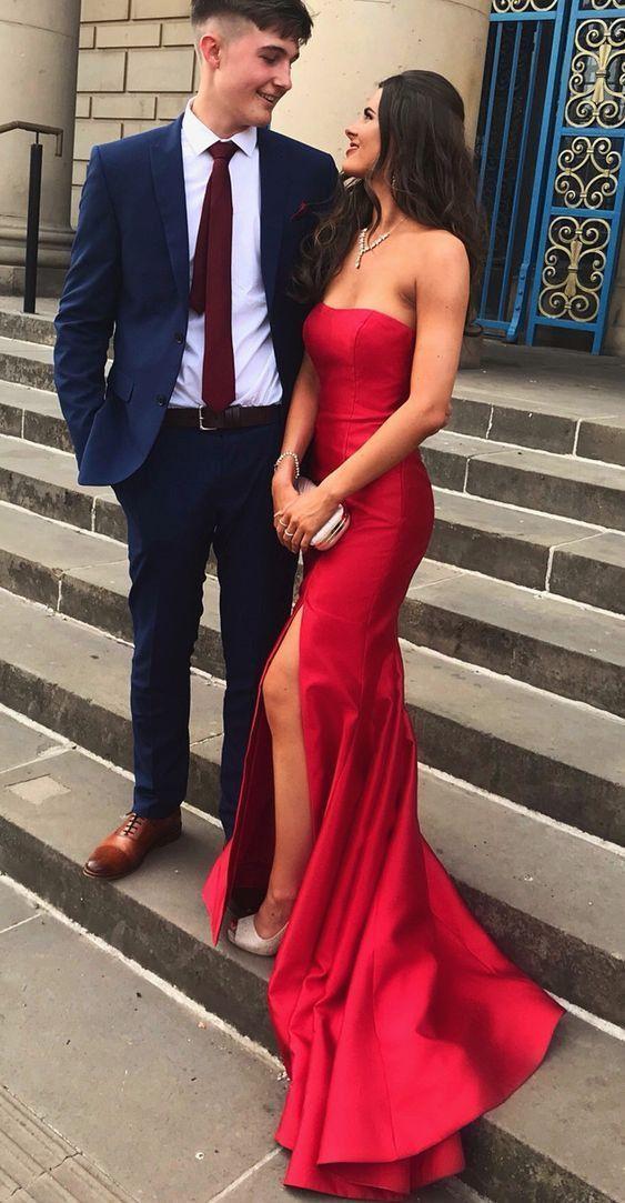 Long Prom Dresses Mermaid, 2019 Red Prom