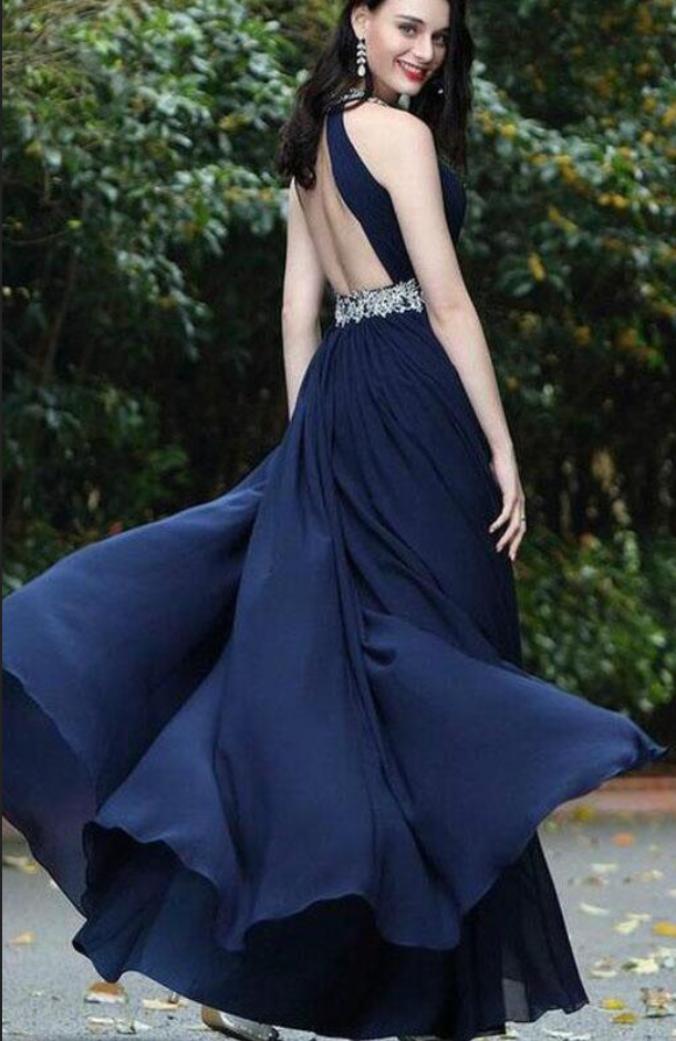 Sexy Chiffon Beads Halter Cheap Navy Blue Simple Backless Prom Dresses