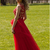 Red Lace Prom Dress, Red Prom Dress , Long Red Prom Dress, Red Evening Dresses,