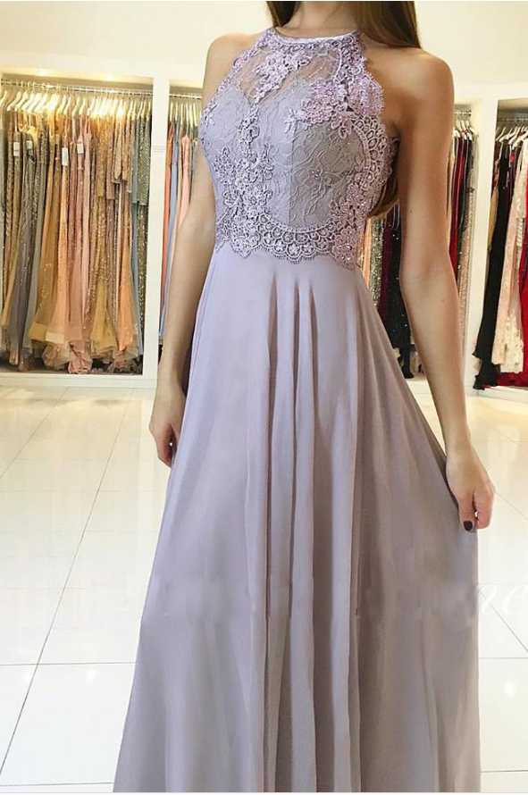 Halter Lace Appliques Chiffon A-line Long Prom Dress, Evening Dress