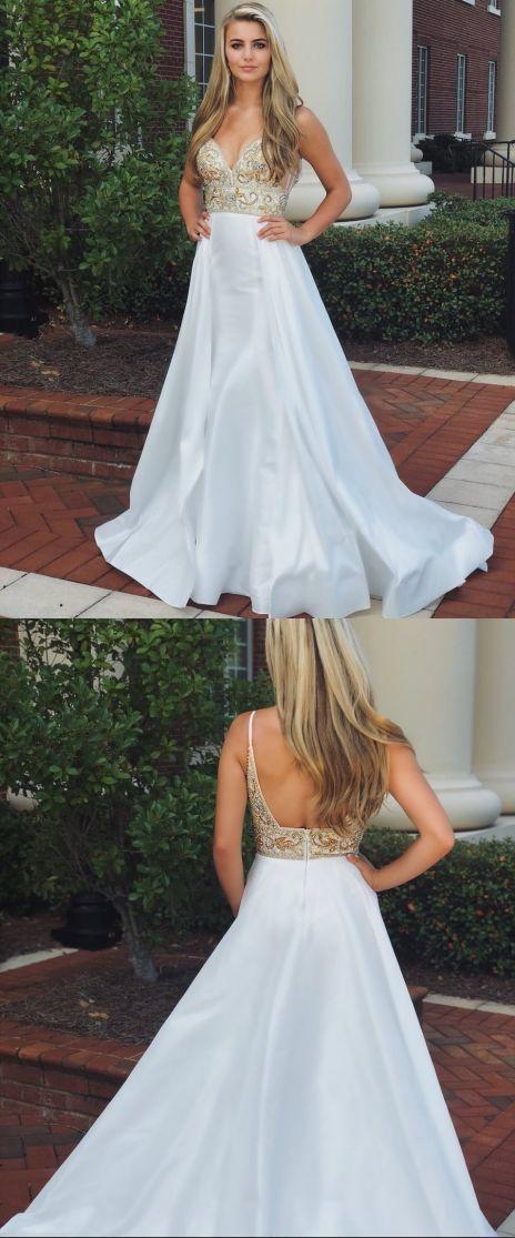 White Spaghetti Strap Formal Dress