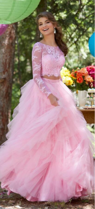 Two Piece Prom Dress,Sexy Long Sleeves Prom Dress, Pink Lace Prom Dress,Tulle
