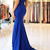 Off Shoulder Mermaid Evening Dresses Long Prom Gowns in Royal Blue Satin Prom
