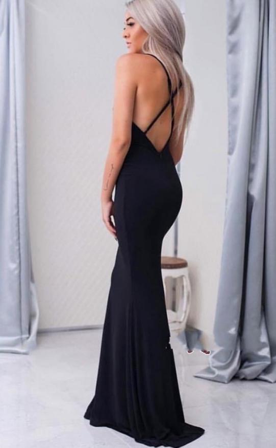 Black Prom Dress,Mermaid Prom Dresses,Sexy backless Evening Dresses,Prom Dress