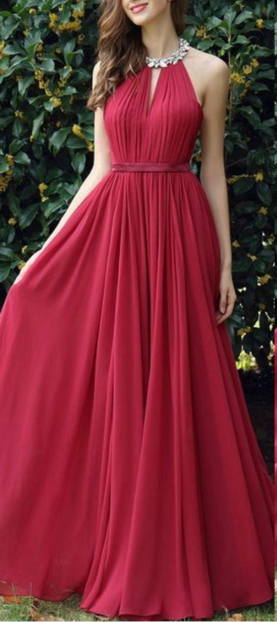 Sexy Open Back Burgundy Prom Dress,Beaded Halter Neckline Evening Dress,Open