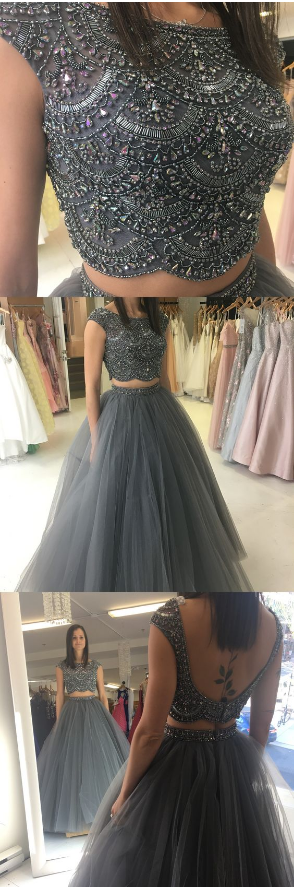 ball gown, two piece prom dresses, beaded grey long prom dresses, prom dresses,