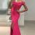 Fuchsia Satin Off Shoulder Long Prom Dresses with Slit