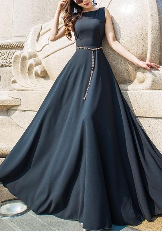 Black Round Neck Elegant Maxi Dress By Prom Dresses On Zibbet - Fashion Dresses