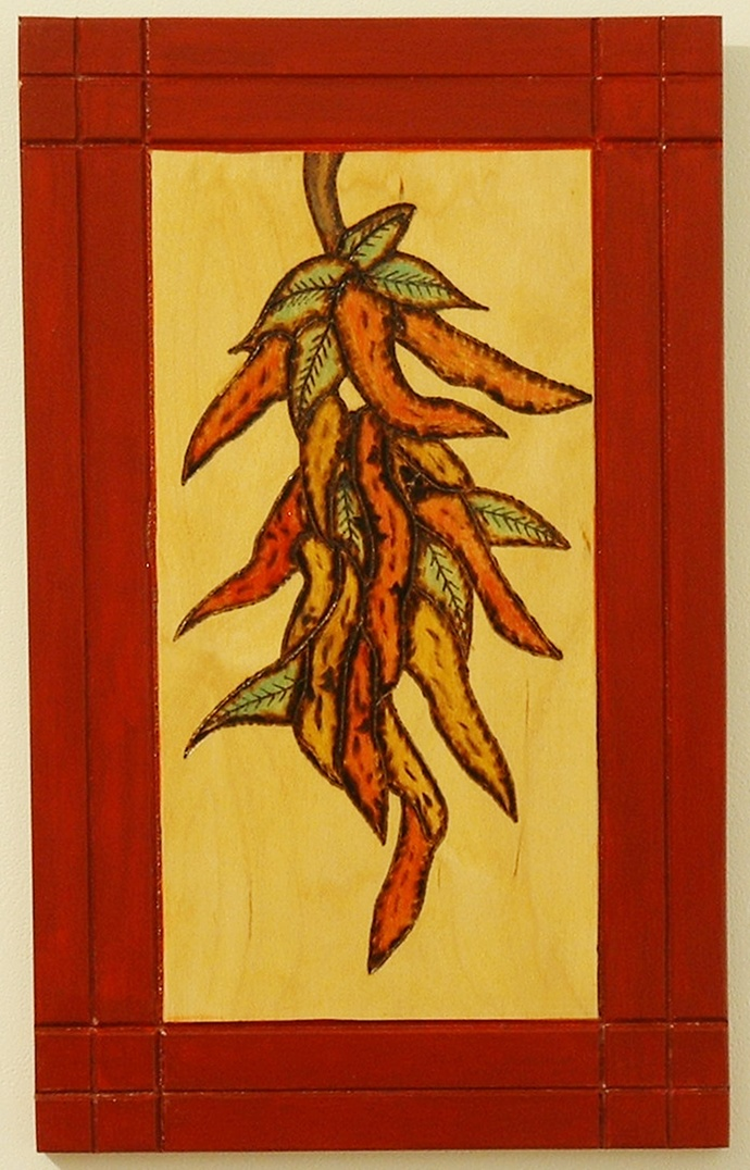 Chili Peppers, Wood Wall Art, Pyrography, Kitchen Decor