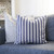 Striped vintage look farmhouse style throw pillow cover, Custom size Blue and