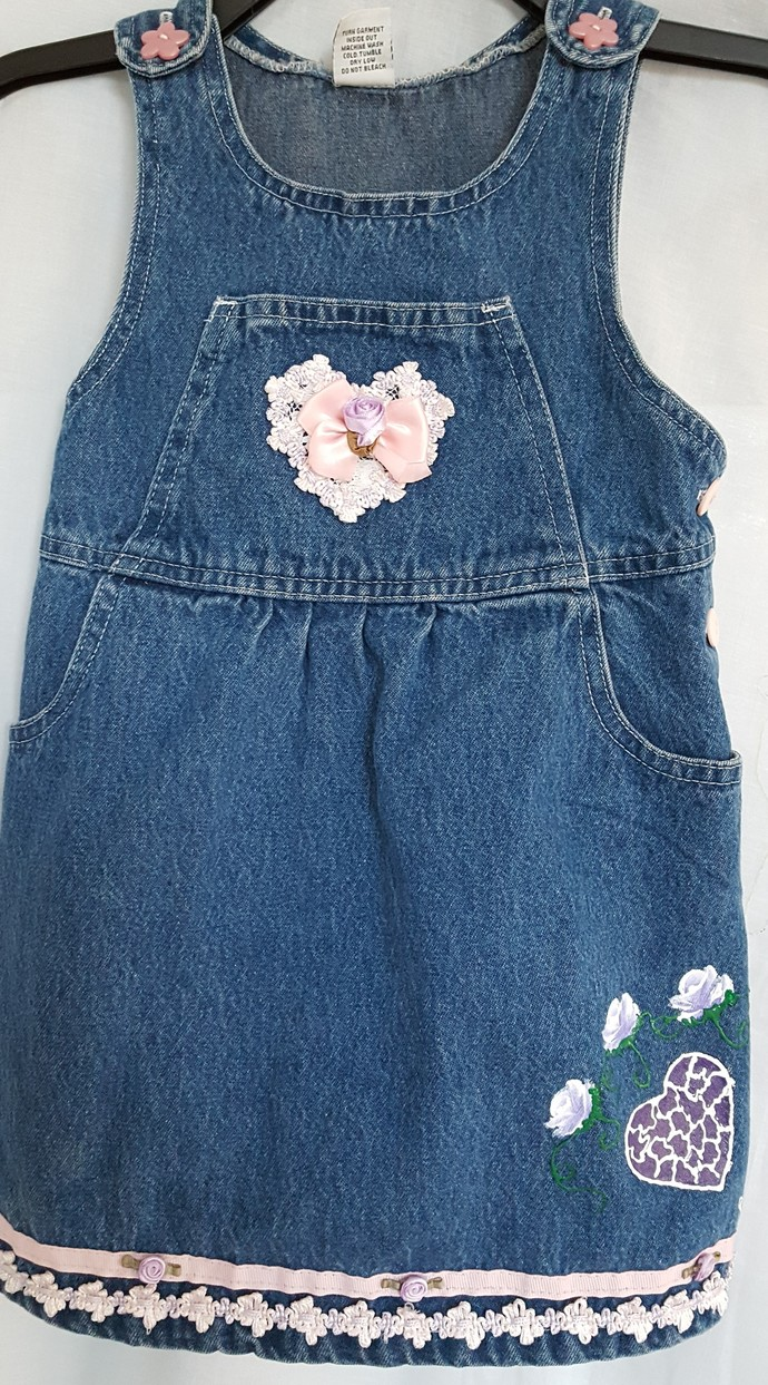 Toddler's Sleeveless Denim Dress - Coordinating Pink Ribbon, Purple Heart