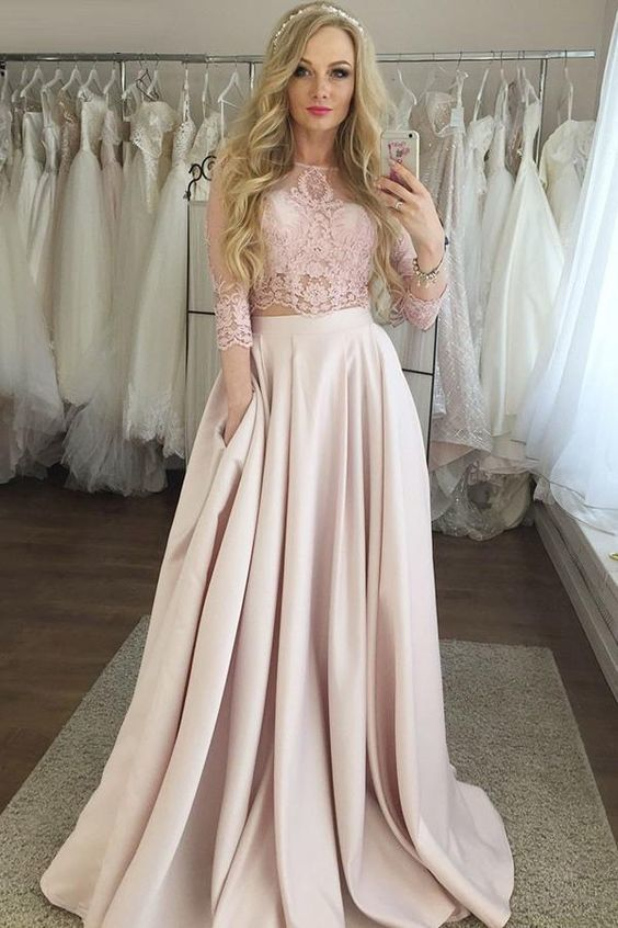 Gorgeous Two Piece 3/4 Sleeves Floor-Length Pink Satin Prom Dress with Pockets