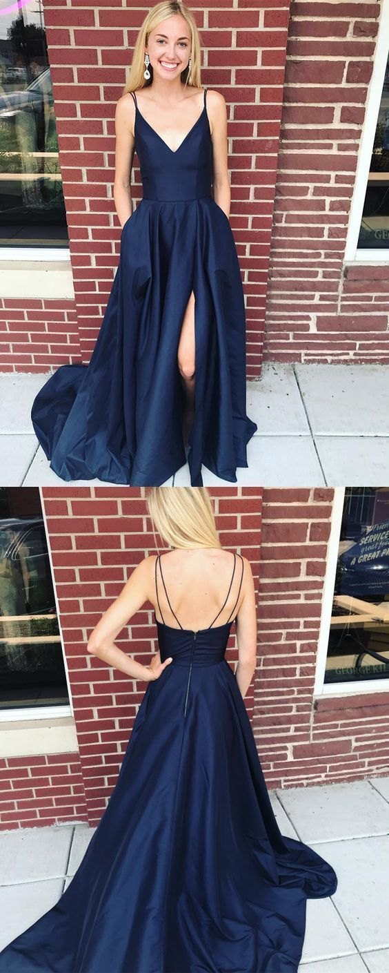 Double Straps Navy Blue Long Prom Dress with Side Slit Simple Charming Sexy Prom
